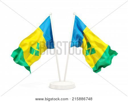 Two Waving Flags Of Saint Vincent And The Grenadines