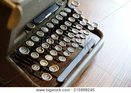 Scene of the key to old typewriter on the table