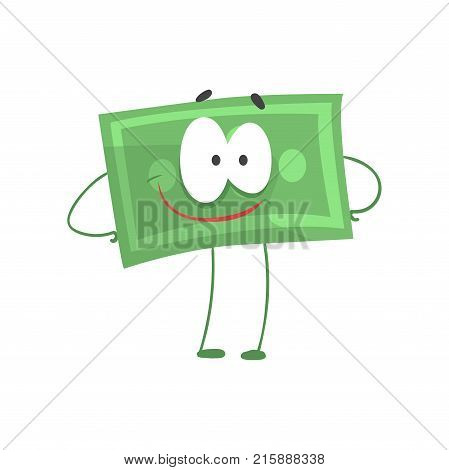 Cartoon money character standing with arms akimbo and smiling face. Self-confident green dollar in flat style. Financial strength concept. Isolated vector illustration. Design element for infographic.