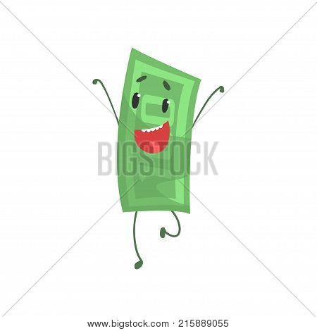 Cheerful hundred dollars character jumping with hands up. Funny money icon. Flat vector illustration isolated on white background. Graphic element for infographic, sticker, print or poster.