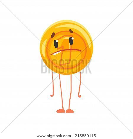 Golden coin character with sad face, legs and arms. Shiny penny icon. Unit of currency. Cartoon money in flat style. Isolated vector illustration. Graphic design element for sticker, flyer or card.