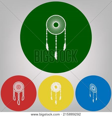 Dream catcher sign. Vector. 4 white styles of icon at 4 colored circles on light gray background.