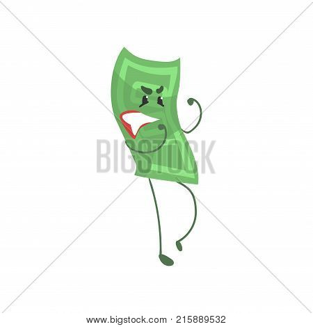 Cartoon hundred dollar bill character in fighting pose. Money and finance concept. Green banknote icon in flat style. Vector illustration isolated on white. Design element for sticker, poster on flyer