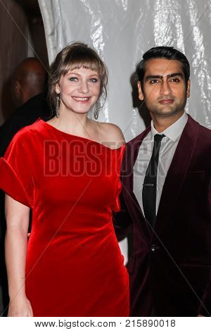 NEW YORK, NY - NOVEMBER 27: Kumail Nanjiani and Emily V. Gordon attend the 2017 IFP Gotham Awards at Cipriani Wall Street on November 27, 2017 in New York City.