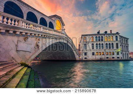 Venice. Cityscape image of Venice with famous Rialto Bridge and Grand Canal.