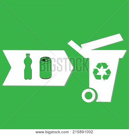 Litter bin for cans and bottles conceptual vector