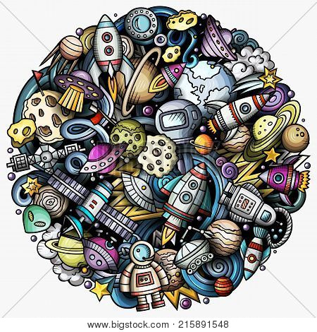 Cartoon vector doodles Space illustration. Colorful, detailed, with lots of objects background. All objects separate. Bright colors cosmic funny round picture