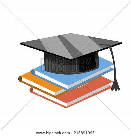Books with the graduate cap. Vector illustration