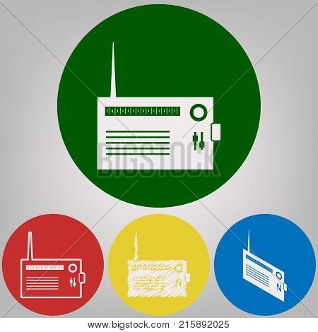 Radio sign illustration. Vector. 4 white styles of icon at 4 colored circles on light gray background.