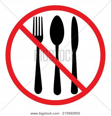 Do not eat icon. Cutlery symbol. Knife, spoon and fork. No food sign