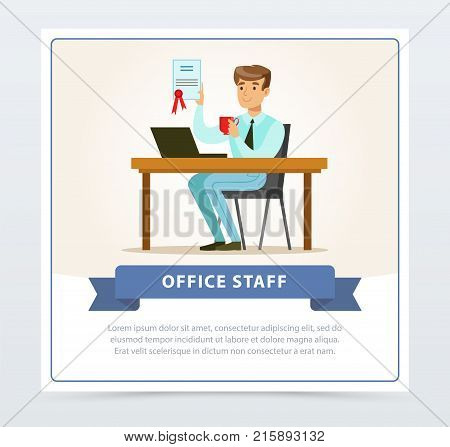 Satisfied young man sitting at the table with laptop, holding cup and showing diploma with honors in hand. Male in official clothes. Office people, working character concept. Flat vector illustration poster