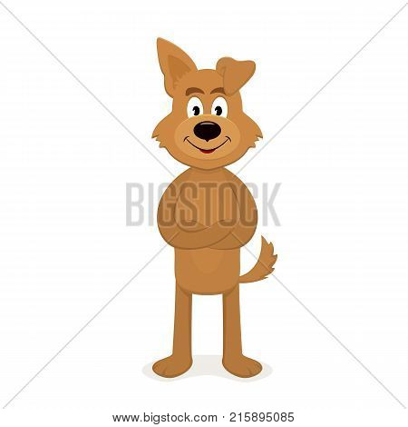 Happy brown dog isolated on white background. The zodiac symbol of the 2018 new year, illustration.