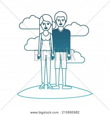 couple in degraded blue silhouette scene outdoor and her with t-shirt sleeveless and pants and heel shoes with long straight hair and him with sweater and short pants and shoes with short hair vector illustration