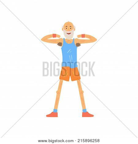 Happy bearded old man standing isolated on white and raising arms at shoulder level. Cartoon athletic male character doing gymnastics exercise. Healthy lifestyle. Isolated flat vector illustration.