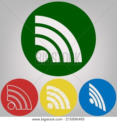 RSS sign illustration. Vector. 4 white styles of icon at 4 colored circles on light gray background.
