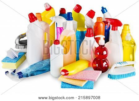 Plastic clean bottles cleaning sponges green yellow