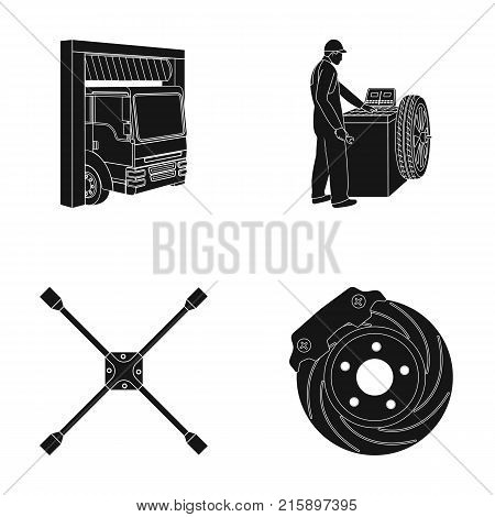 Wheel balancing, spanner and brake disc black icons in set collection for design.Car maintenance station vector symbol stock illustration .