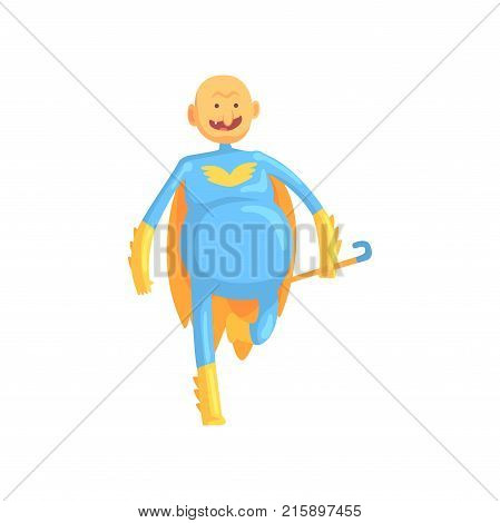 Cheerful grandfather with stick in hand running to save world. Dressed in classic superhero suit with yellow mantle. Cartoon old man character with bald head and without teeth. Isolated flat vector