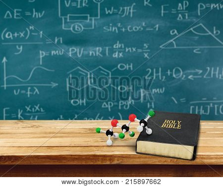 School book holy bible table background light