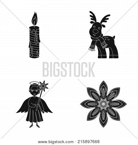 Christmas candle, deer, angel and snowflake black icons in set collection for design. Christmas vector symbol stock  illustration.