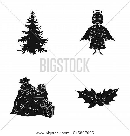 Christmas tree, angel, gifts and holly black icons in set collection for design. Christmas vector symbol stock  illustration.