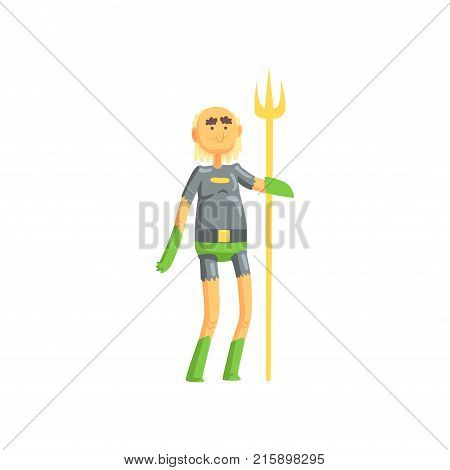 Toothless old man superhero standing on isolated white background and holding golden wand. Funny cartoon elderly character in hero costume with underpants and gloves. Vector illustration in flat style