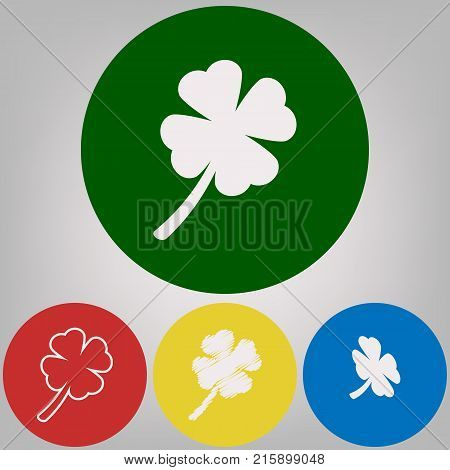Leaf clover sign. Vector. 4 white styles of icon at 4 colored circles on light gray background.
