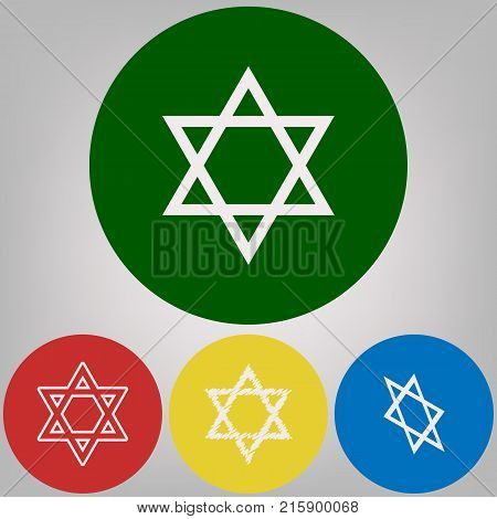 Shield Magen David Star. Symbol of Israel. Vector. 4 white styles of icon at 4 colored circles on light gray background.