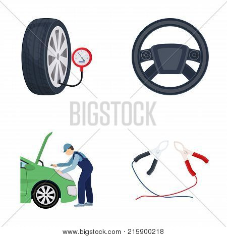 Engine adjustment, steering wheel, clamp and wheel cartoon icons in set collection for design.Car maintenance station vector symbol stock illustration .