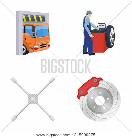 Wheel balancing, spanner and brake disc cartoon icons in set collection for design.Car maintenance station vector symbol stock illustration .