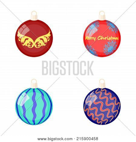 New Year's Toys cartoon icons in set collection for design.Christmas balls for a treevector symbol stock illustration.
