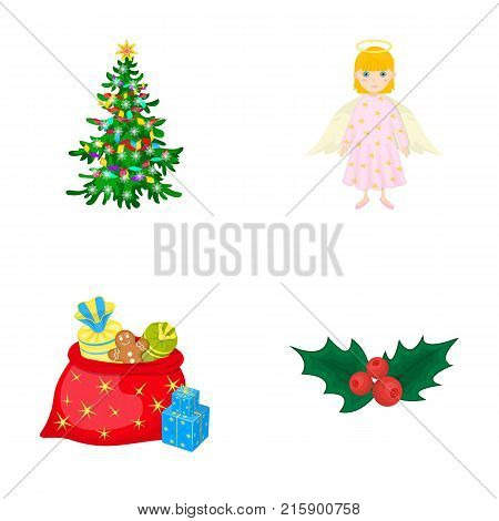 Christmas tree, angel, gifts and holly cartoon icons in set collection for design. Christmas vector symbol stock  illustration.