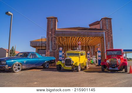 Valle, Arizona, USA -- October 25, 2015:  route 66 decorations in the city of Seligman in Arizona.