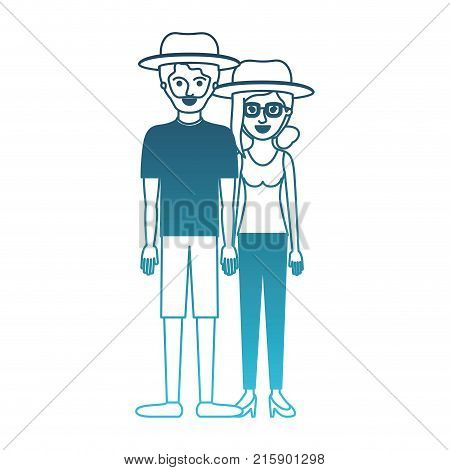 couple in degraded blue silhouette and both with hat and him with beard with t-shirt and short pants and shoes and her with glasses t-shirt sleeveless and pants and heel shoes with collected hair and fringe vector illustration