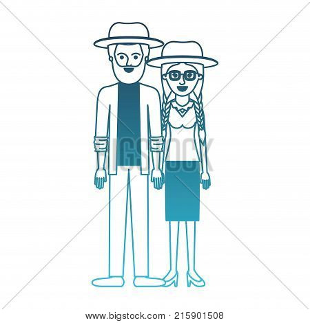 couple in degraded blue silhouette and both with hat and him with beard and shirt and jacket and pants and shoes and her with glasses blouse and skirt and heel shoes with braided hair vector illustration