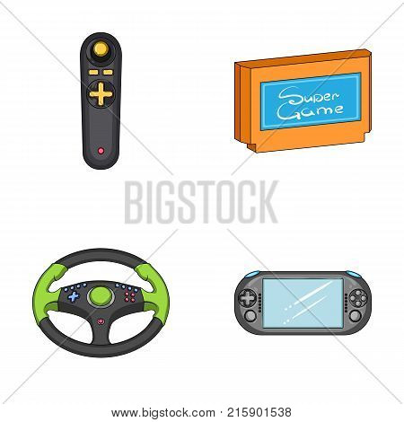 Game console and joystick cartoon icons in set collection for design.Game Gadgets vector symbol stock  illustration.