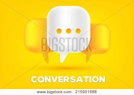 Mobile Communication Technology Concept. Vector Illustration Of 3D Dialog Speech Bubbles With Three
