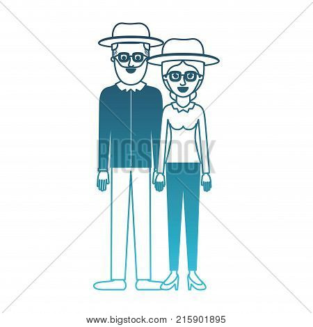couple in degraded blue silhouette and both with hat and glasses and him with beard and shirt and pants and shoes and her with blouse long sleeve and pants and heel shoes with collected hair vector illustration