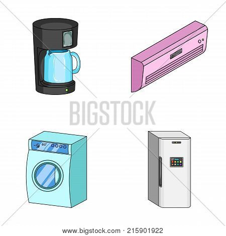 Home appliances and equipment cartoon icons in set collection for design.Modern household appliances vector symbol stock  illustration.