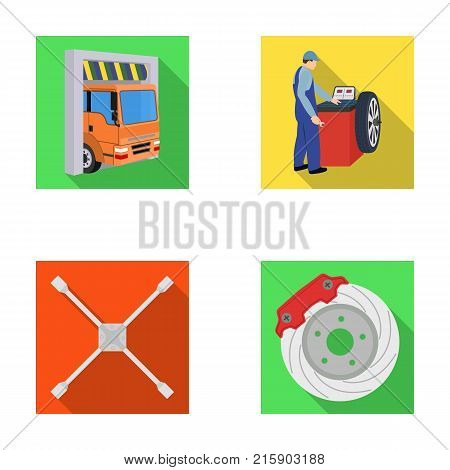 Wheel balancing, spanner and brake disc flat icons in set collection for design.Car maintenance station vector symbol stock illustration .