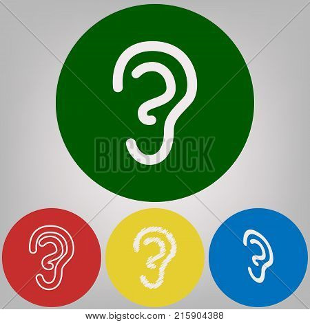 Human anatomy. Ear sign. Vector. 4 white styles of icon at 4 colored circles on light gray background.