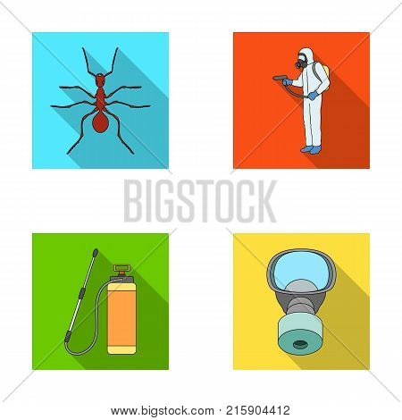 Ant, staff in overalls and equipment flat icons in set collection for design. Pest Control Service vector symbol stock  illustration.