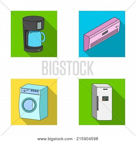 Home appliances and equipment flat icons in set collection for design.Modern household appliances vector symbol stock  illustration.