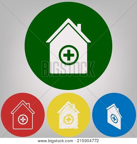 Hospital sign illustration. Vector. 4 white styles of icon at 4 colored circles on light gray background.