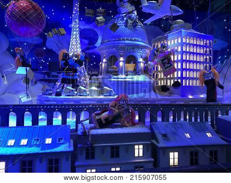 Christmas Decorations In The Windows Vitrine Of Galeries Lafayette Department Store