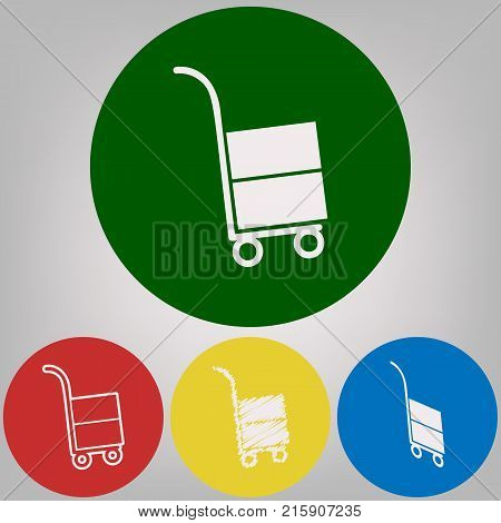 Hand truck sign. Vector. 4 white styles of icon at 4 colored circles on light gray background.