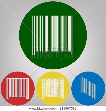 Bar code sign. Vector. 4 white styles of icon at 4 colored circles on light gray background.
