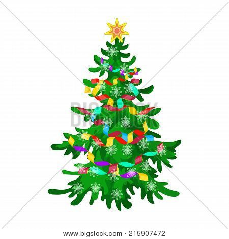Christmas tree single icon in cartoon style for design. Christmas vector symbol stock illustration .