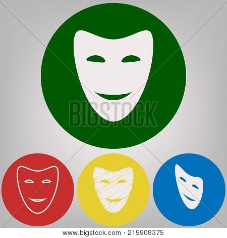 Comedy theatrical masks. Vector. 4 white styles of icon at 4 colored circles on light gray background.