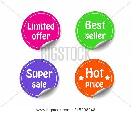 Discount Circle Sticker With Curled Corner Marketing Promotion Set Of Labels Sign Best Seller;limite